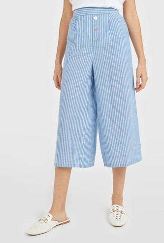 Striped High-Rise Pleat Front Chambray Culottes