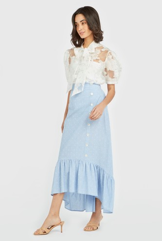 Broderie Anglasie Midi Skirt with Asymmetric Placket