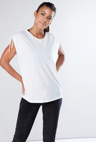 Embroidered Oversized T-Shirt with Round Neck