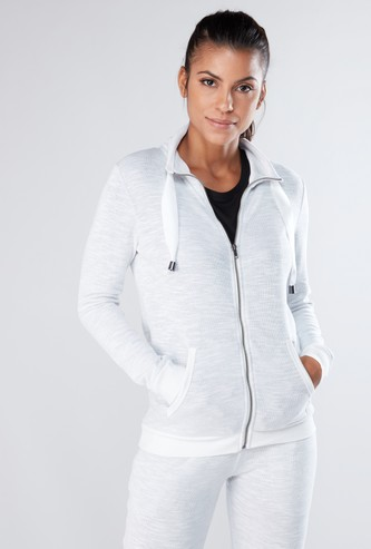 Textured Jacket with Zip Closure and Pocket Detail