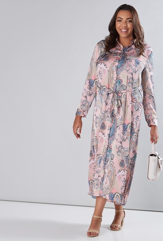 Printed Long Sleeves Maxi Dress