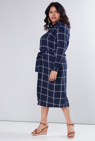 Chequered Shirt Dress with Pocket Detail and Tie Up Belt
