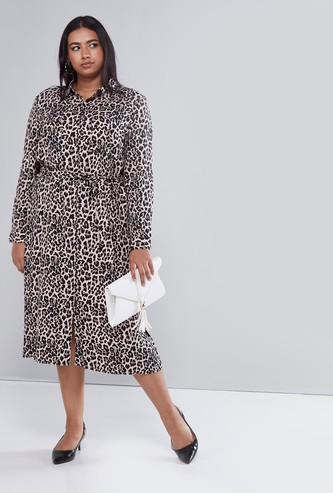 Animal Printed Shirt Dress with Pocket Detail and Tie-Up Belt