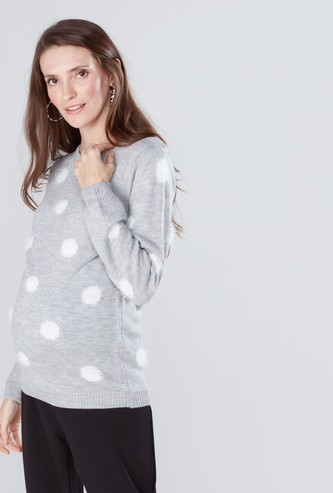 Maternity Polka Dot Printed Sweater with Long Sleeves