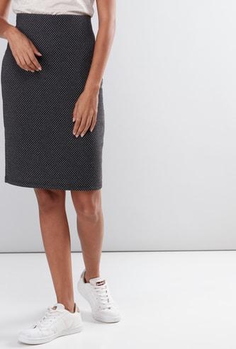 Printed Midi Skirt with Elasticised Waistband