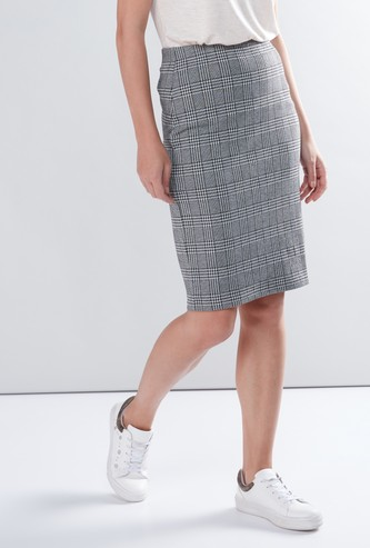 Striped Tube Skirt with Elasticised Waistband
