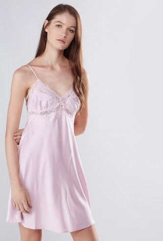 Lace Detail Chemise with Spaghetti Straps