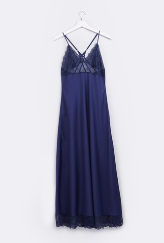 Lace Detail Nightgown with Adjustable Straps