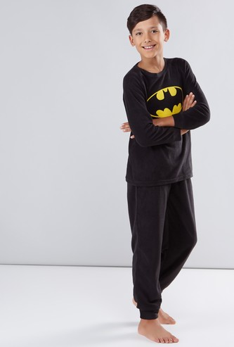 Batman Printed Round Neck T-Shirt with Jog Pants