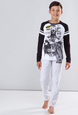 Batman Printed T-Shirt and Full Length Pyjama Set