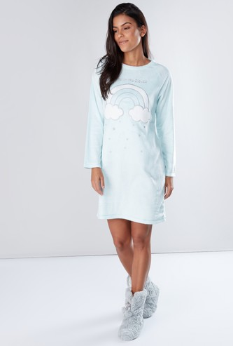 Embroidered Plush Sleep Dress with Long Sleeves and Applique Detail