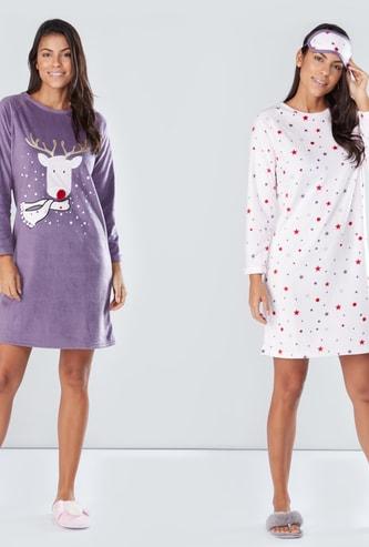 Printed Sleep Dress with Raglan Sleeves - Set of 2