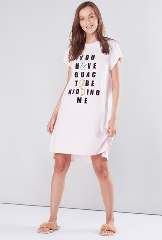 Printed Sleep Dress with Round Neck
