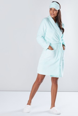 Textured Long Sleeves Midi Robe with Eye Mask