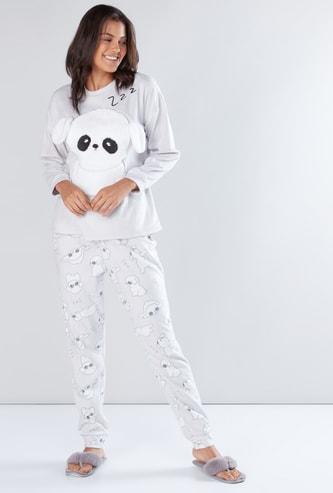 Long Sleeves Applique Detail Sweatshirt with Printed Jog Pants
