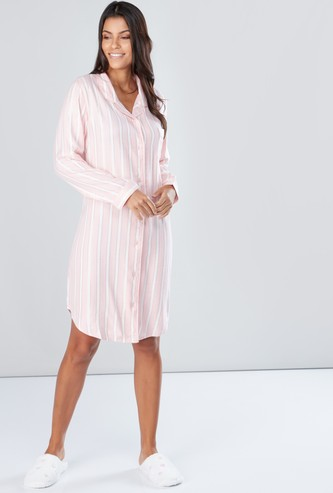 Striped Sleepshirt with Long Sleeves and Complete Placket