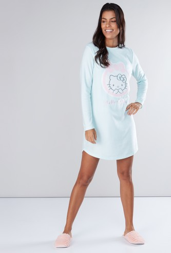 Hello Kitty Embroidered Detail Sleep Dress with Round Neck
