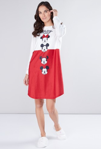 Mickey Mouse and Minnie Mouse Printed Sleep Dress with Round Neck