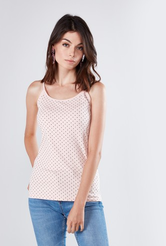 Polka Printed Camisole with Scoop Neck and Straps