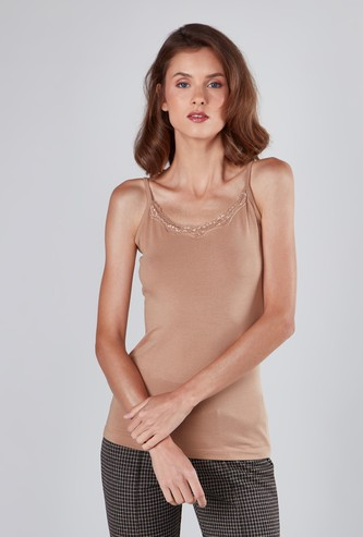 Solid Camisole with Spaghetti Straps and Lace Trim