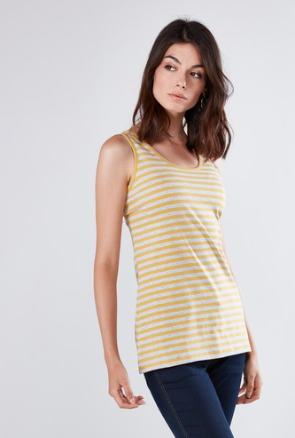 Striped Sleeveless Top with Scoop Neck