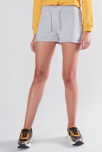 Plain Mid Waist Shorts with Elasticised Waistband and Drawstring