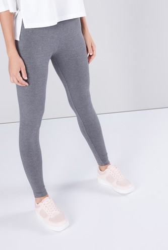 Solid Ankle Length Anti Pilling Leggings with Elasticated Waistband