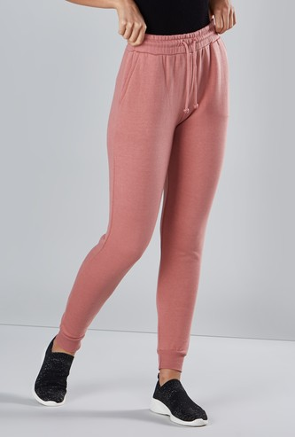 Full Length Plain Mid-Rise Jog Pants with Pocket Detail