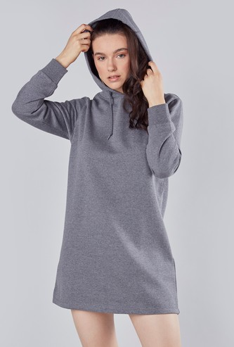 Plain Mini Shift T-shirt Dress with Long Sleeves and Hood
