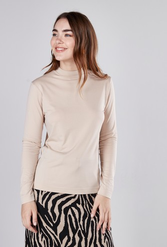 Slim Fit Plain T-shirt with High Neck and Long Sleeves