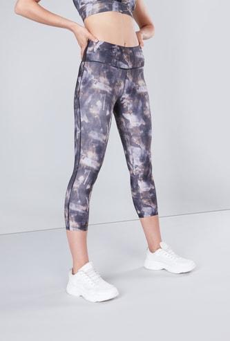 Slim Fit Printed Capri Leggings with Elasticated Waistband
