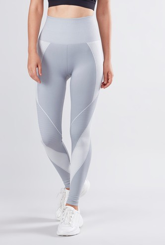 Slim Fit Striped Leggings with Elasticised Waistband