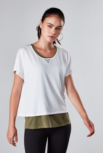 Double Layer T-shirt with Round Neck and Short Sleeves