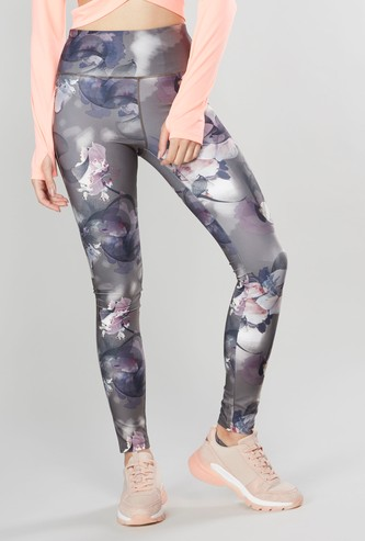 Floral Print Ankle Length Leggings with Elasticated Waist