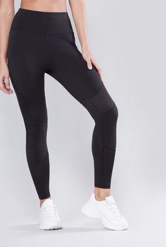 Solid Panelled Full Length Leggings