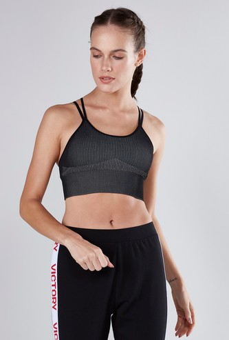 Ribbed Seamless Sports Bra with Criss-Cross Back Detail