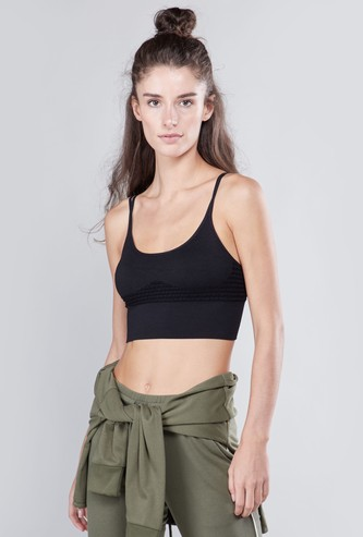 Textured Sports Bra with Scoop Neck