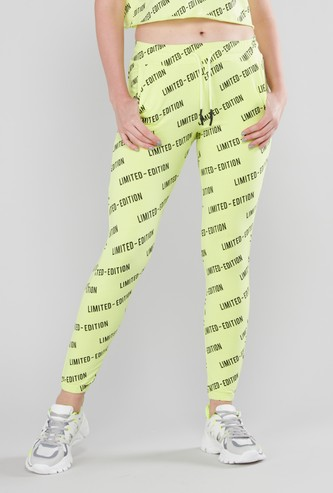 Text Printed Joggers with Cuffed Hem and Drawstring Closure
