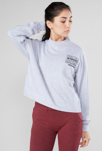 Printed Oversized T-shirt with Round Neck and Drop Shoulder Sleeves