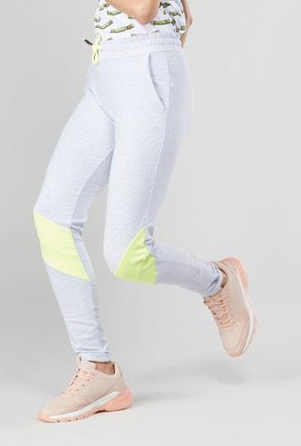 Melange Track Pants with Drawstring and Pocket Detail