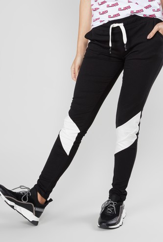Cut and Sew Track Pants with Drawstring and Pocket Detail