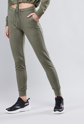 Solid Jogger Pants with Cuffed Hems