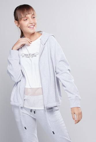 Plain Sweatshirt with Long Sleeves and Hood
