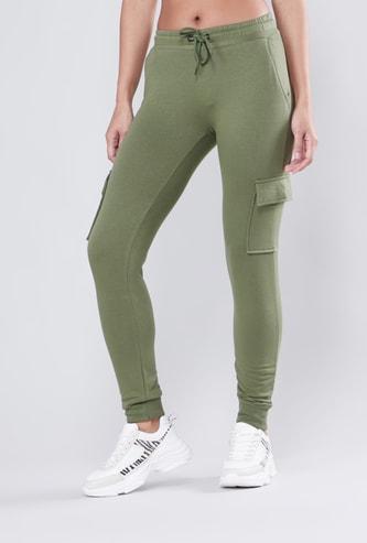 Plain Jog Pants with Dual Flap Pockets