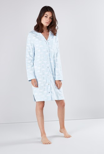 Printed Sleep Shirt with Patch Pocket and Long Sleeves