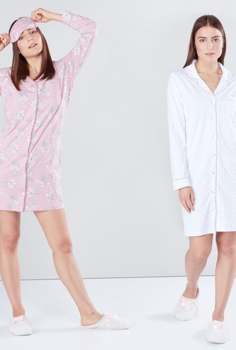 Set of 2 - Printed Sleep Shirt with Long Sleeves and Complete Placket