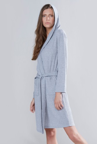 Textured Robe with Hood and Tie Ups