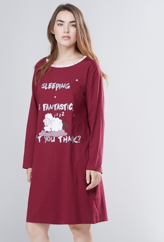 Printed Sleepshirt with Round Neck and Long Sleeves