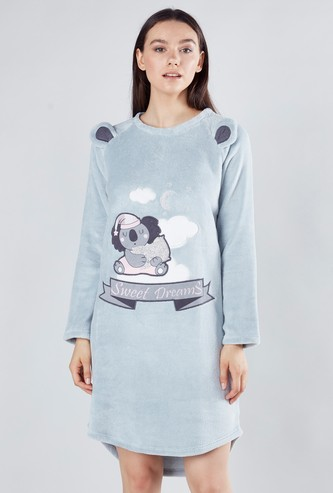 Printed Sleep Dress with Round Neck and Applique Detail