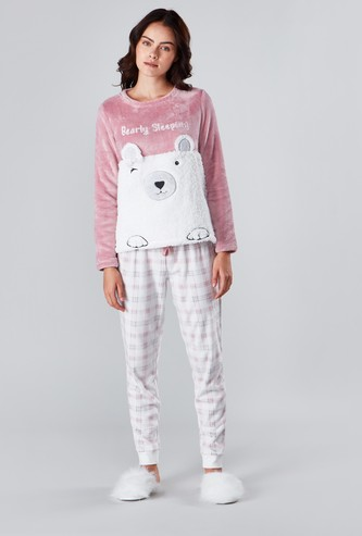Embroidered Bear T-shirt and Chequered Pyjama Set